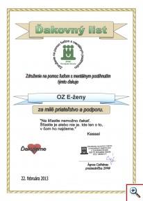 Ďakovný list združenia ZPMP